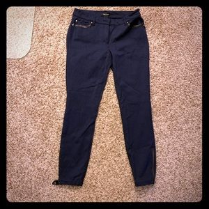 White House Black Market navy pants pleather trim